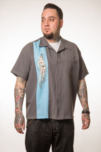 KAULUSPAITA - Single Pinup Panel Button Up in Charcoal - STEADY CLOTHING (89027)