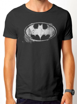 T-PAITA - BATMAN - LOGO MONO DISTRESSED (LF8466)