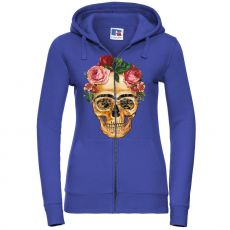 Naisten Authentic Vetoketjuhuppari FRIDA SKULL WHIT FLOWERS