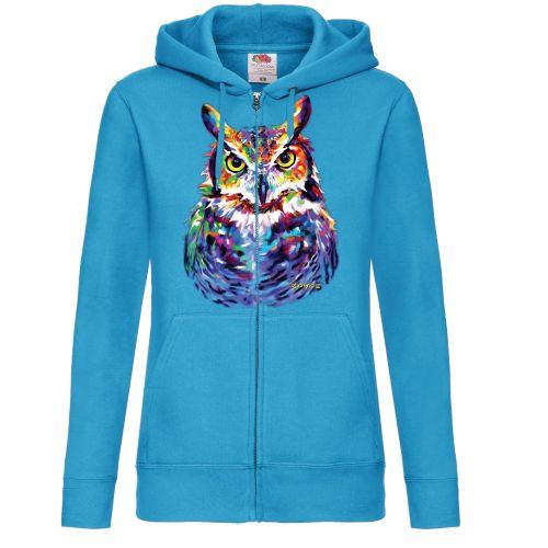 NAISTEN VETOKETJUHUPPARI Azure Blue  - GREAT HORNED OWL (857E)