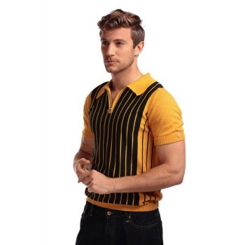 KAULUSPAITA - PABLO STRIPED KNITTED POLO SHIRT