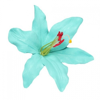 PALOMA Hand Painted Aqua Lily Hair Flower