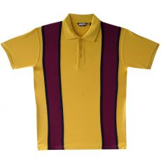 PIKEEPAITA - polo pique stripe BURGUNDYPOLO SHIRT mustard - CRK LONDON