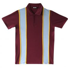 PIKEEPAITA - polo pique stripe BURGUNDYPOLO SHIRT BURGUNDY - CRK LONDON