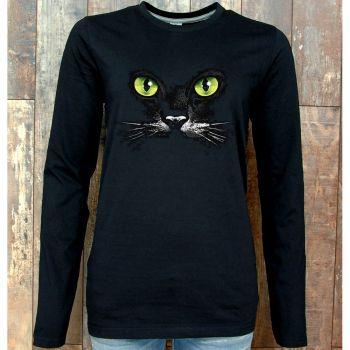 NAISTEN PITKÄHIHAINEN PAITA MUSTA PINETA - EYES (BLACK CAT) (1058)