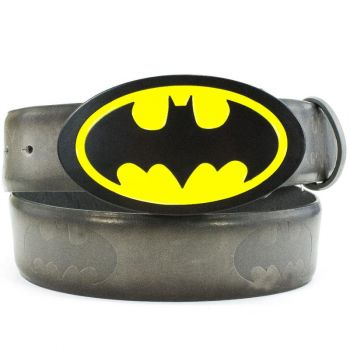 VYÖNSOLKI+VYÖ BATMAN BLACK/YELLOW CAST BUCKLE - EMBOSSED BAT SIGNAL PU STRAP