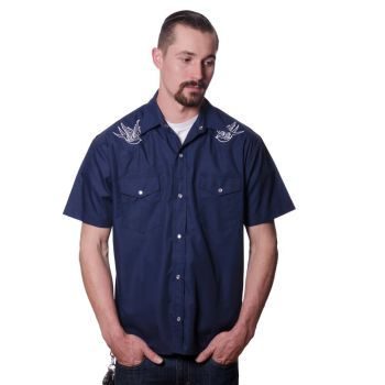 KAULUSPAITA - Sparrow Western in Navy - STEADY CLOTHING