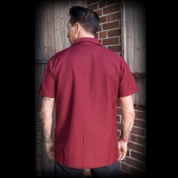KAULUSPAITA - Classic Shirt Two Stripes - RedWine