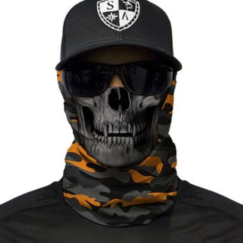PUFF HUIVI - ORANGE & GREY MILITARY CAMO SKULL