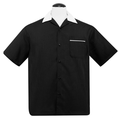 KAULUSPAITA - PopCheck Classic Bowler Button Up in Black/White - STEADY CLOTHING