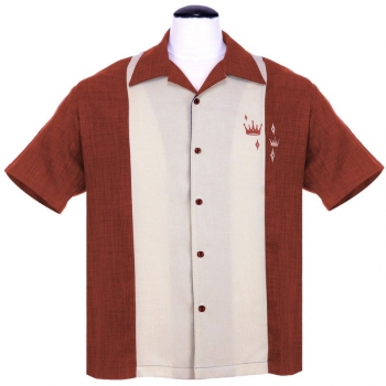 KAULUSPAITA - Contrast Crown Button Up in Rust - STEADY CLOTHING