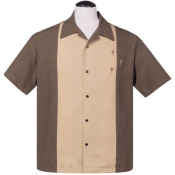 KAULUSPAITA - Crosshatch Button Up in Coffee - STEADY CLOTHING