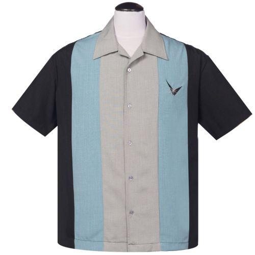 KAULUSPAITA - Atomic Mad Men Button Up in Black/Sea Foam - STEADY CLOTHING