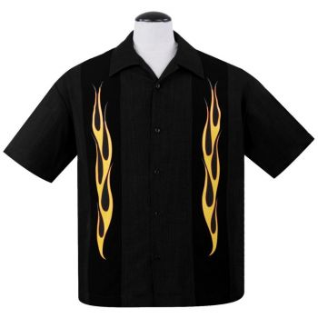 KAULUSPAITA - Flame N Hot Button Up in Black/Orange - STEADY CLOTHING