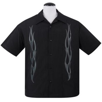 KAULUSPAITA - Flame N Hot Button Up in Black/Charcoal - STEADY CLOTHING