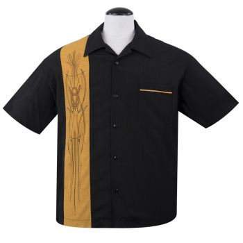 KAULUSPAITA - V8 Pinstripe Panel Button Up in Black/Mustard - STEADY CLOTHING