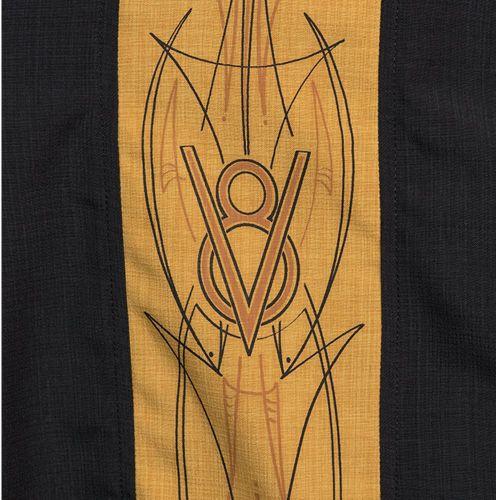 KAULUSPAITA - V8 Pinstripe Panel Button Up in Black/Mustard - STEADY CLOTHING