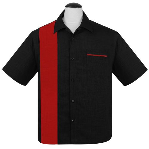 KAULUSPAITA -PopCheck Single Panel Button Up in Black/Red  - STEADY CLOTHING