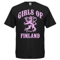 T-PAITA GIRLS OF FINLAND ISOLLA PAINATUKSELLA musta
