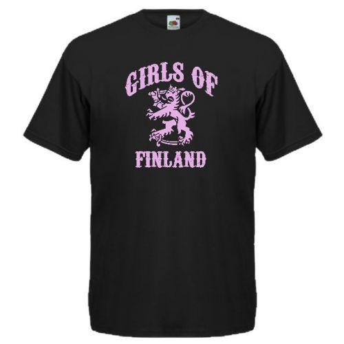 T-PAITA GIRLS OF FINLAND PIENELLÄ PAINATUKSELLA musta