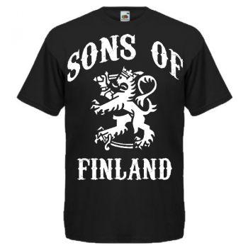 T-PAITA SONS OF FINLAND ISOLLA PAINATUKSELLA musta (81481)