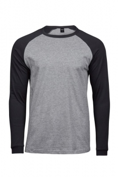 PITKÄHIHAINEN BASEBALL TEE Heather Grey - Black