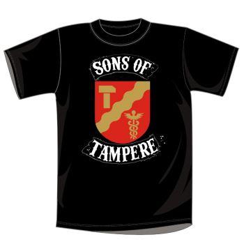 T-PAITA MUSTA - SONS OF TAMPERE VAAKUNA