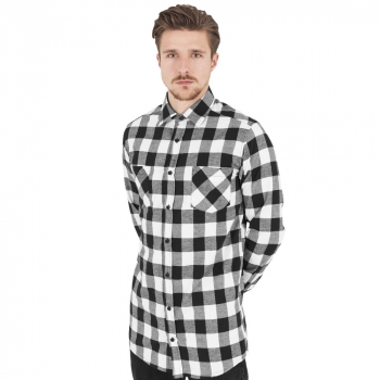 FLANELLI-KAULUSPAITA - WHITE Long Checked Flanell Shirt - URBAN CLASSICS
