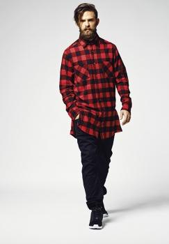 FLANELLI-KAULUSPAITA - Side-Zip Long Checked Flanell Shirt Red - URBAN CLASSICS