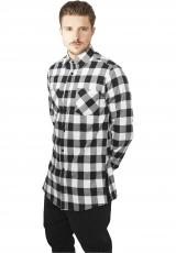 FLANELLI-KAULUSPAITA - Side-Zip Long Checked Flanell Shirt White - URBAN CLASSICS