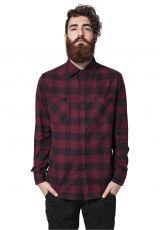 FLANELLI KAULUSPAITA SUURET KOOT- Checked Flanell Shirt BURGUNDY - URBAN CLASSICS