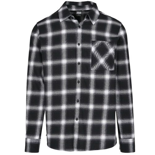 KAULUSPAITA suuret koot - Oversized Checked Shirt blk/wht - URBAN CLASSICS