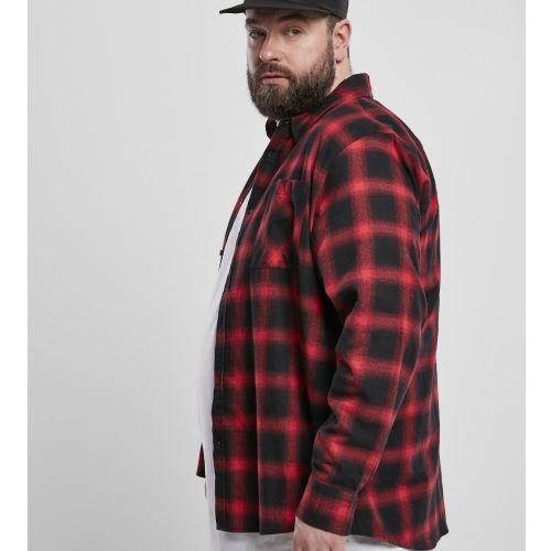 KAULUSPAITA suuret koot - Oversized Checked Shirt blk/red - URBAN CLASSICS