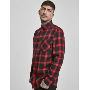 KAULUSPAITA - Oversized Checked Shirt blk/red - URBAN CLASSICS