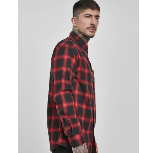 KAULUSPAITA - Oversized Checked Shirt blk/red - URBAN CLASSICS