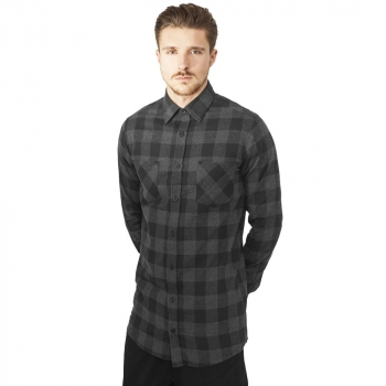 FLANELLI-KAULUSPAITA - GREY Long Checked Flanell Shirt - URBAN CLASSICS