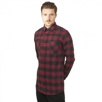 FLANELLI-KAULUSPAITA -  burgundy Long Checked Flanell Shirt - URBAN CLASSICS