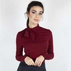 PUSERO - Josie Tie Neck Top in Burgundy - VOODOO VIXEN