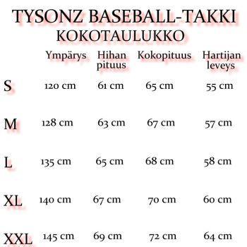 TYSONZ BASEBALL-TAKKI (Musta-valk)