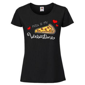 NAISTEN PAITA MUSTA - PIZZA IS MY VALENTINE